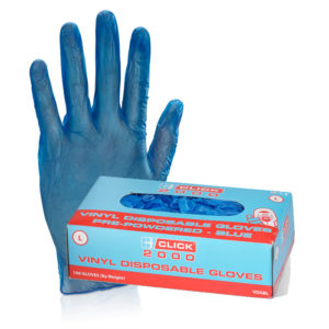 Click Vinyl Pre-Powdered Disposable Gloves 100 Pairs