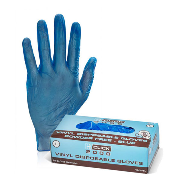 Click Vinyl Powder Free Disposable Gloves 100 Pairs