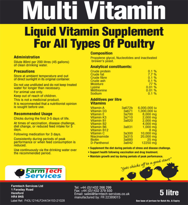 Multi Vitamin Label
